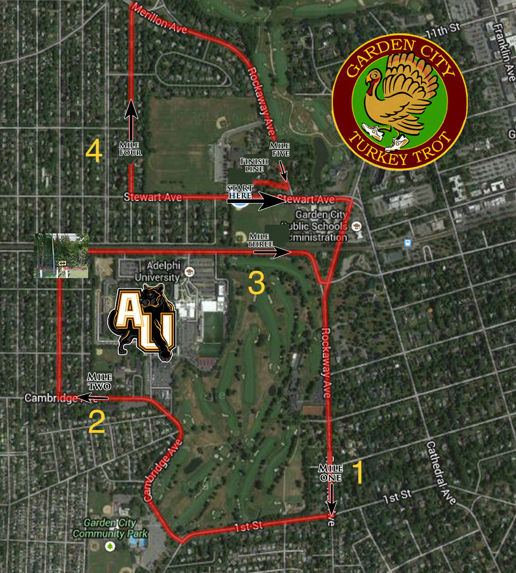 click here to see the garden city turkey trot 5 mile course - Garden City Turkey Trot